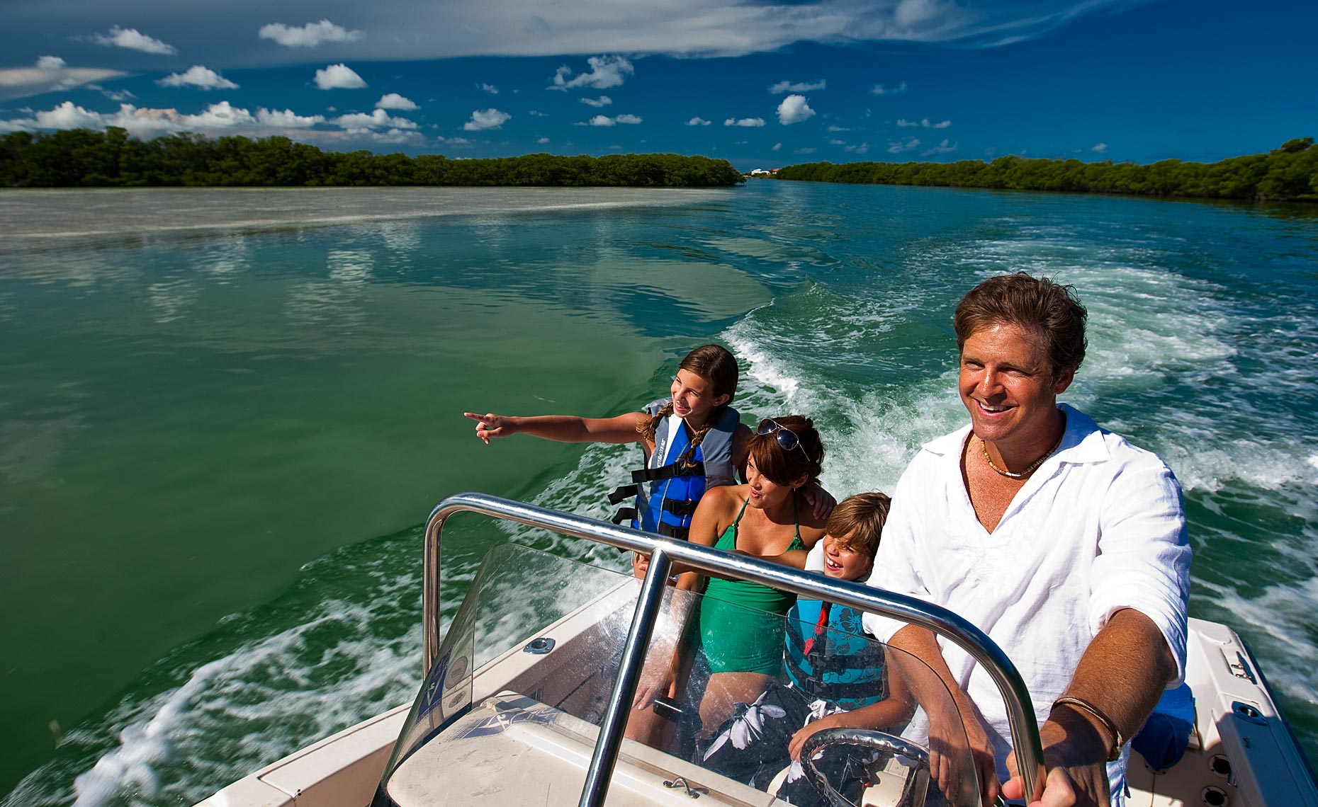 Family boating in the Florida Keys.