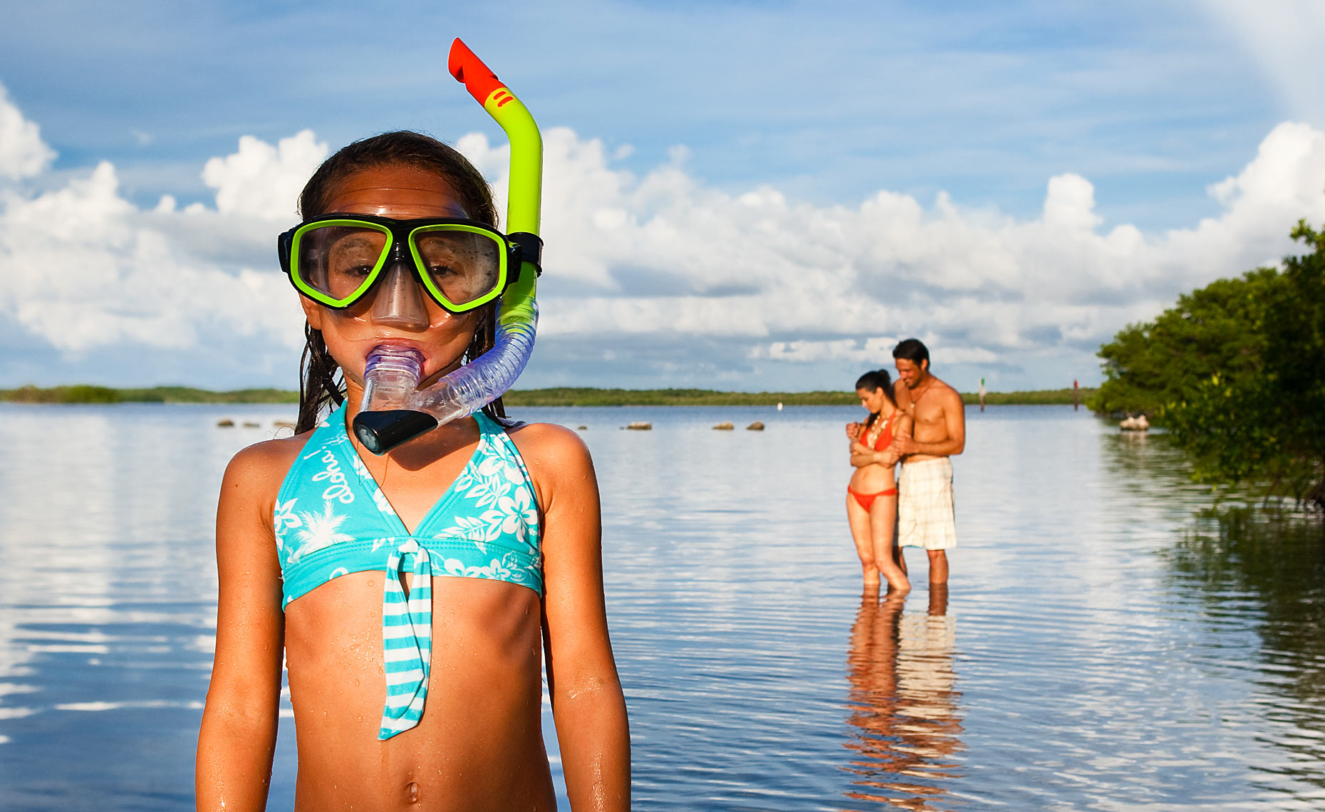 Girl with snorkel gear in the Florida Keys.
