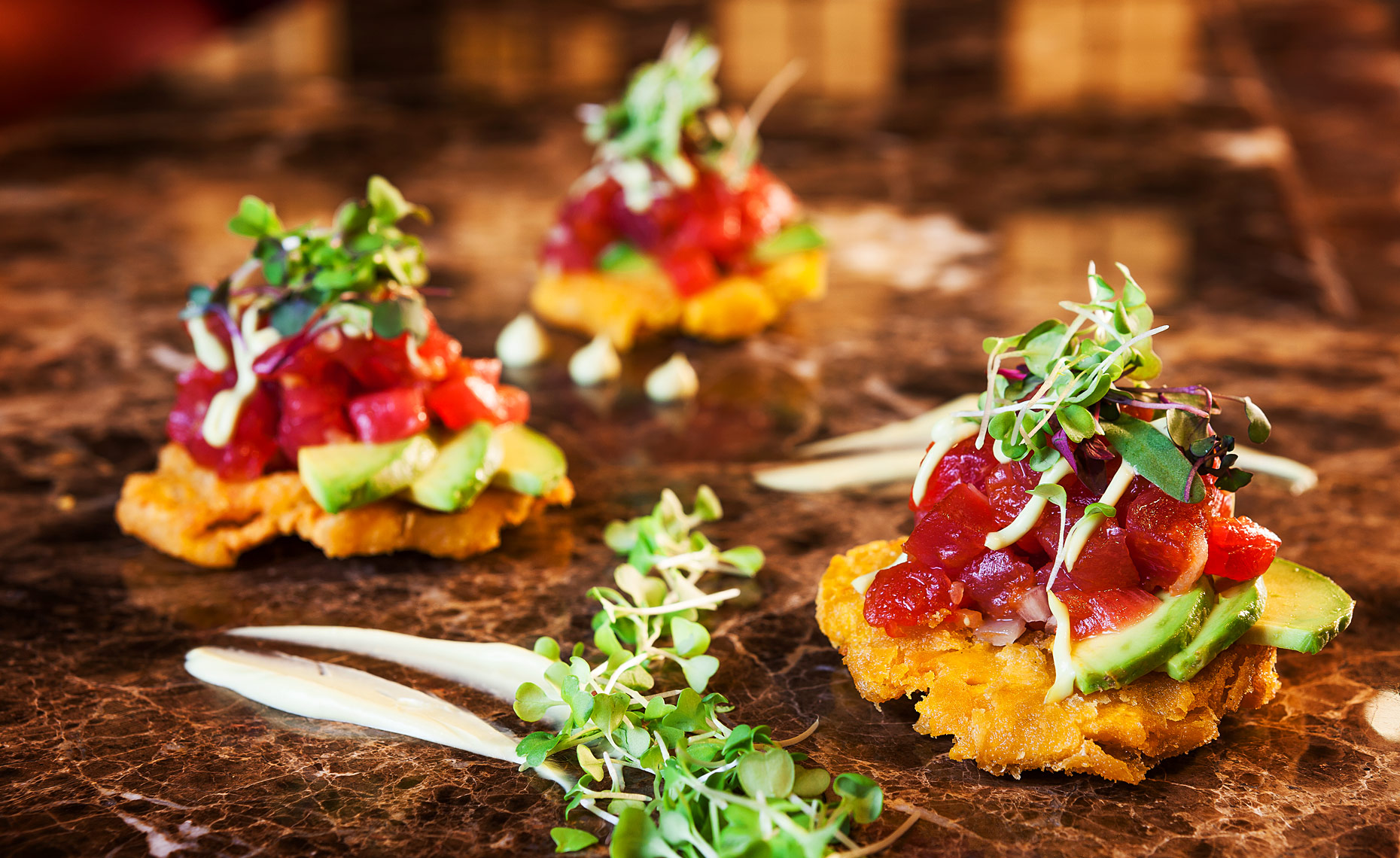 TOSTONES RELLENOS - Tuna Tartar, Garlic Aioli Sauce, Florida Double Fried Plantain.