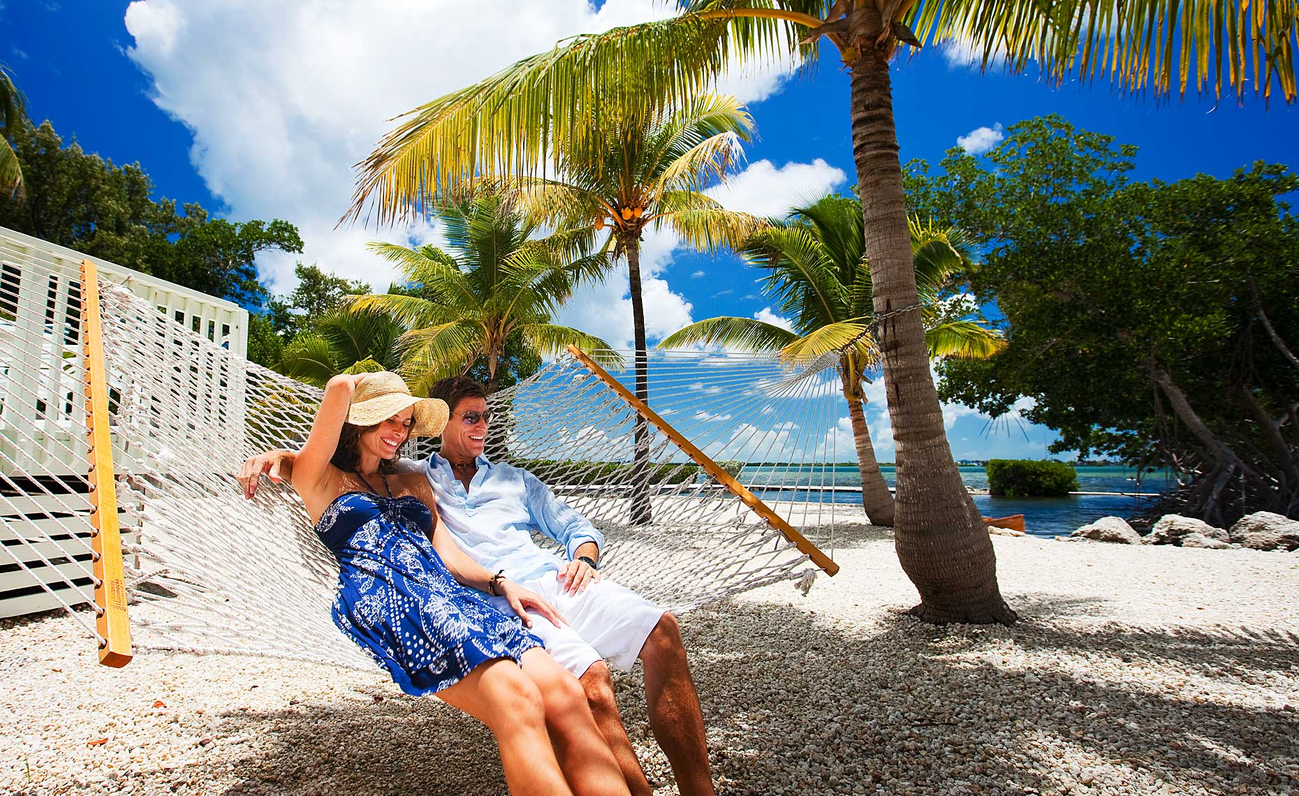 Couple Relaxing in Hammock Florida Keys.