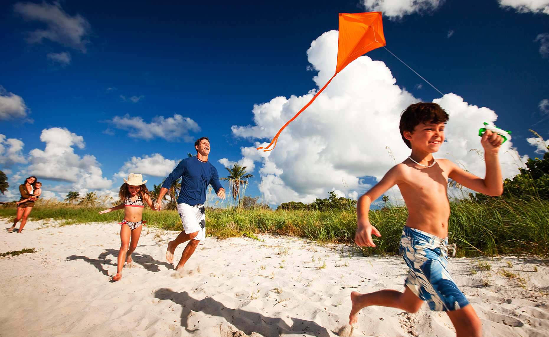 Family Beach Kite Flying.