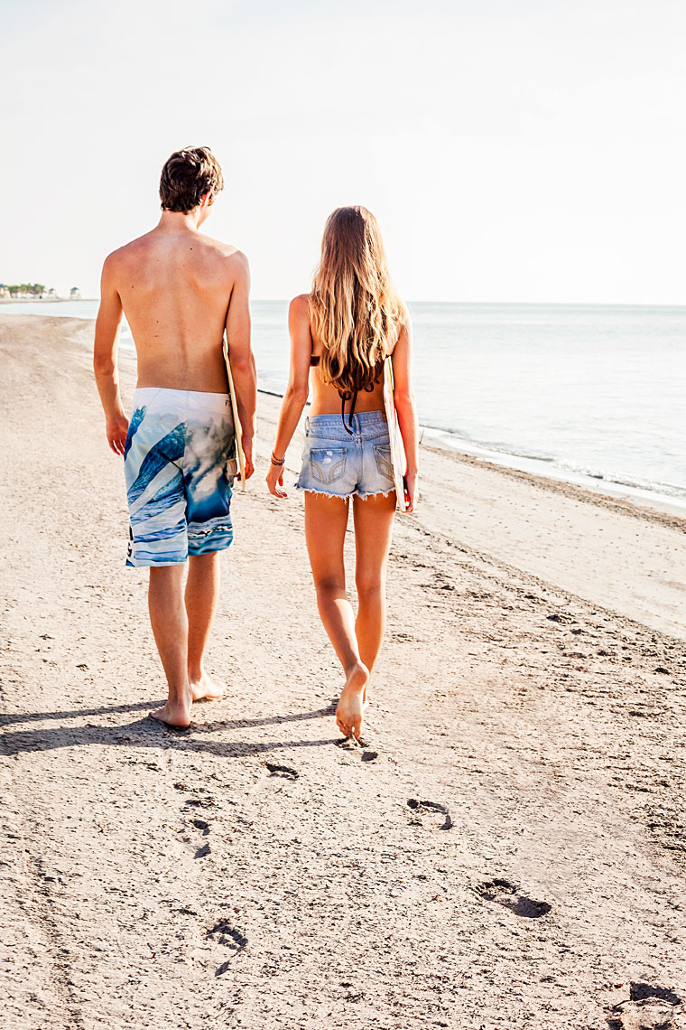 Teens at the Beach - Couple walking.